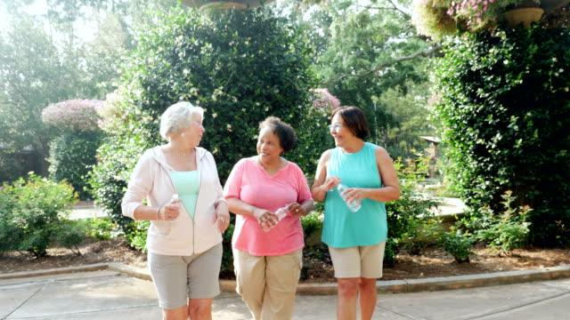 tre äldre kvinnor går, pratar, skrattar i parken - senior walking bildbanksvideor och videomaterial från bakom kulisserna