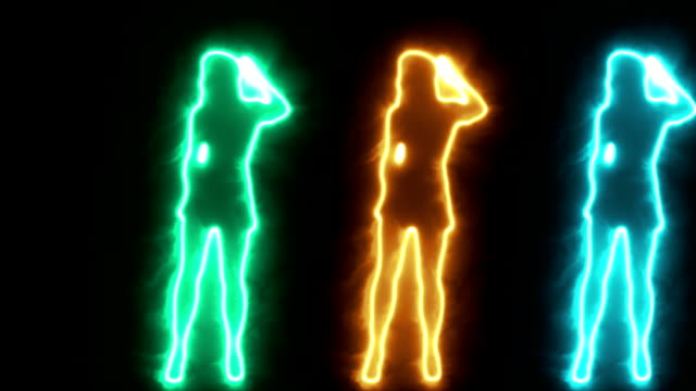 Three Shadow dancing sexy girls in glowing outline video