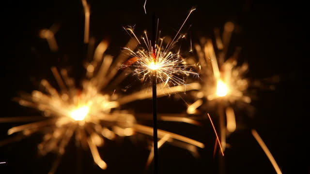 Three Sparklers Burning Down Close-up video
