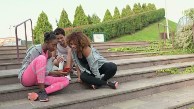 Three sporty women making a selfie