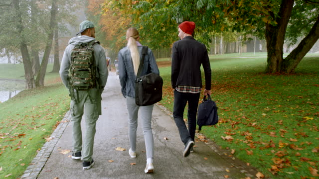 Three students walking through a park on a foggy autumn morning Wide handheld right behind shot of three students walking in a park on a foggy morning in fall. Shot in Slovenia. campus stock videos & royalty-free footage