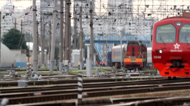 Three trains moving in front of the camera towards each other / Russia. Moscow video