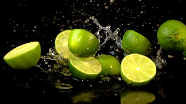 Three videos of falling lime in real slow motion