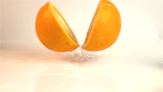 Three videos of falling oranges in real slow motion video