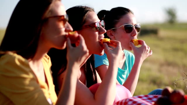 Three woman on picnic Three woman eating peaches on picnic peach stock videos & royalty-free footage