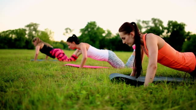 Three women are doing push ups on the grass in the park video