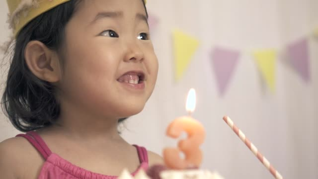 three year old birthday of a japanese girl - 2 3 anni video stock e b–roll