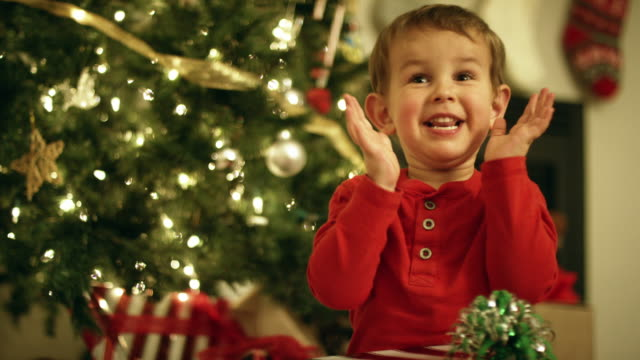 a three year-old caucasian boy in a red shirt laughs, smiles, and claps while holding a christmas present in front of a christmas tree on christmas day - cena di natale video stock e b–roll
