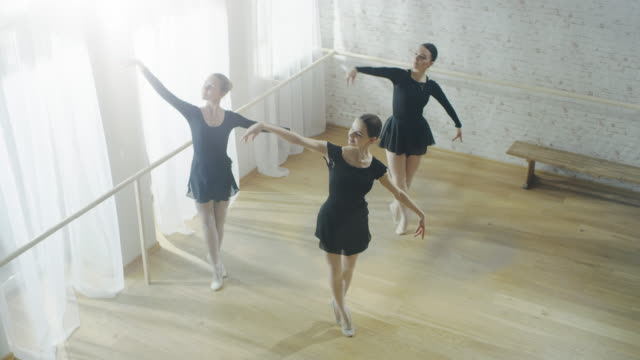 Three Young and Gorgeous Ballerinas Practicing Synchronous Dancing. Shot on a Sunny Morning in a Bright and Spacious Studio. video