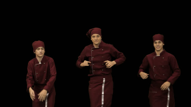 Three Young Smiling Cooks Dancing, Alpha Channel On Alpha Matte. Medium shot. Three Young Smiling Cooks Dancing, Alpha Channel. Professional shot in 4K resolution. 4151. You can use it e.g. in your commercial video, business, presentation, broadcast handful stock videos & royalty-free footage