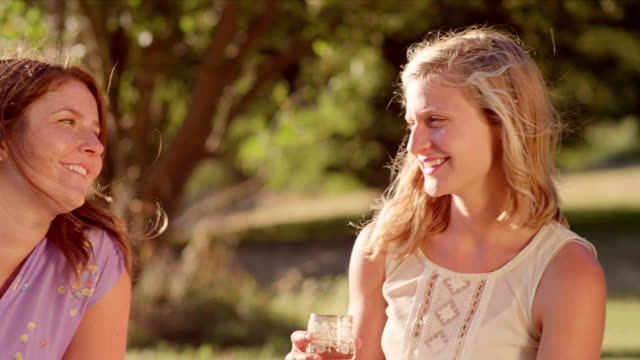 Three young women sharing drinks together in the park video