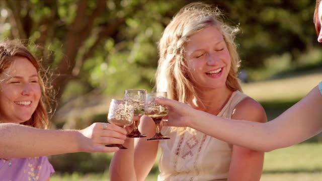 Drei junge Frauen im Getränke zusammen im park – Video