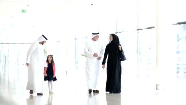 Three-generation Emirati family in shopping mall video