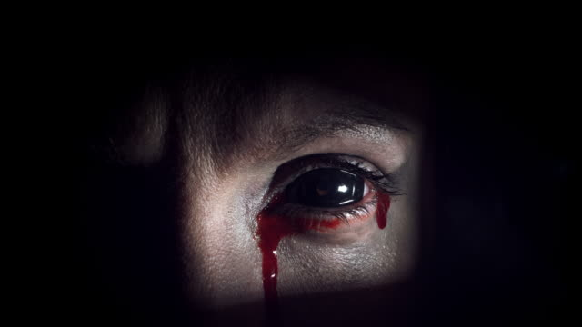 4K Thriller, Horror Blackout Eye with Bloody Tears video