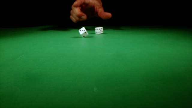 SLO MO Throwing dices on a gambling table