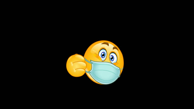 vídeos y material grabado en eventos de stock de thumb up emoji emoticon con animación de máscara médica - covid icon