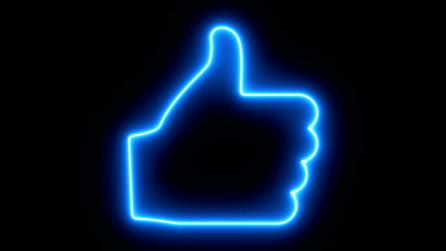 Thumbs up animation. Like icon for social network. Neon illumination. Human hand gesture. 4K video.