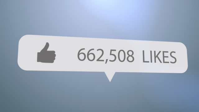 Thumbs up icon, Like text and increasing numbers on speech bubble against blue background