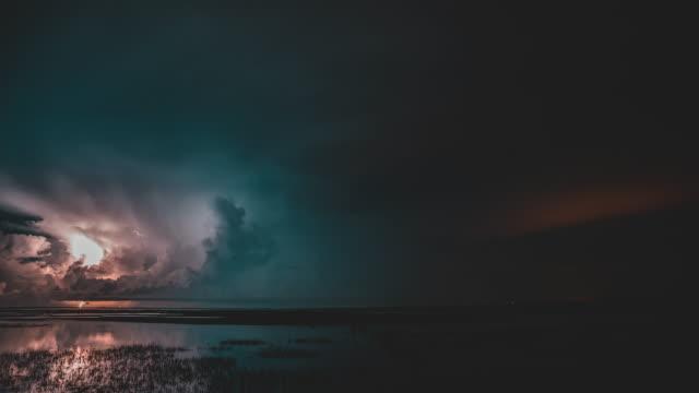 Thunder storm at night Thunder storm seamless loop at night light natural phenomenon stock videos & royalty-free footage