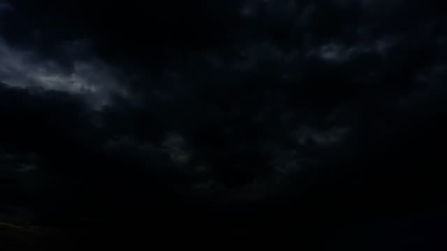 Thunderstorm clouds at night with lightning. 4K Timelapse Loop.