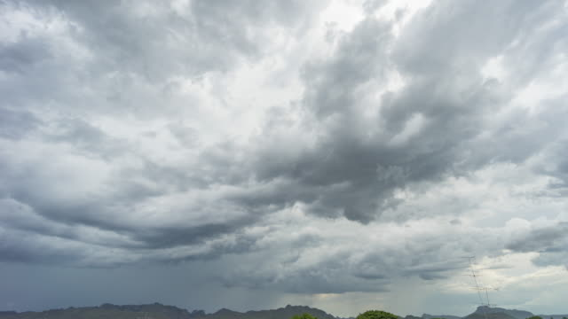 thunderstorm clouds on sky, time lapse video - condensa video stock e b–roll