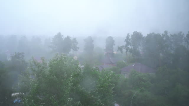 Thunderstorm in the village, lightning flash, heavy rain, trees in the wind