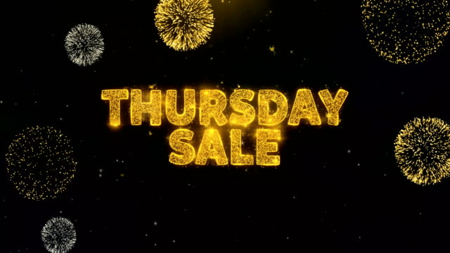 Thursday Sale Text on Gold Particles Fireworks Display.