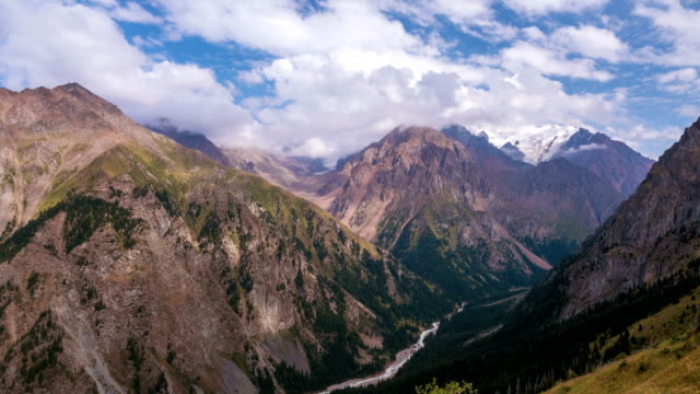 Tian Shan Mountains Time Lapse Zoom In 4k