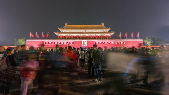 T/L WS LA TU Tiananmen Gate and Tourist at Night / Beijing, China video