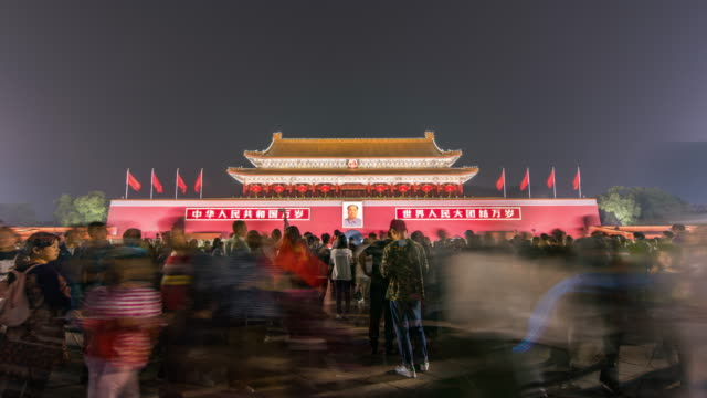 T/L WS LA TD Tiananmen Gate and Tourist at Night / Beijing, China video