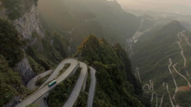 tianmen mountain national park - tour bus stock-videos und b-roll-filmmaterial