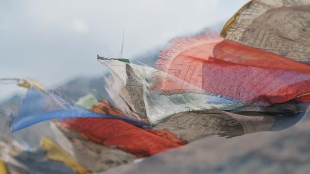 チベット仏教の祈りの旗インド ラダック レー - ネパール点の映像素材/bロール