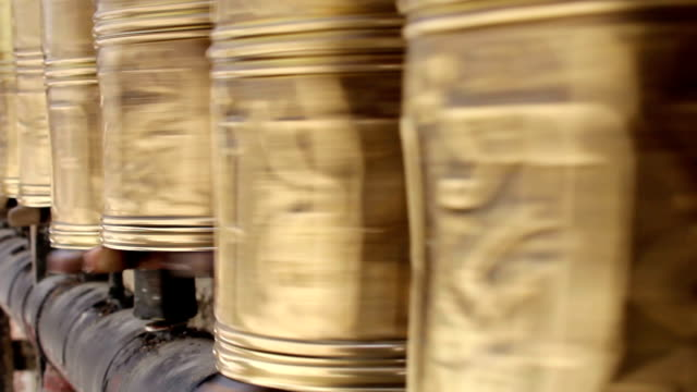 Tibetan prayer wheel spinning video