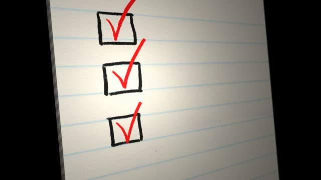 tick/check all the boxes. animated checklist - linjerat papper bakgrund bildbanksvideor och videomaterial från bakom kulisserna