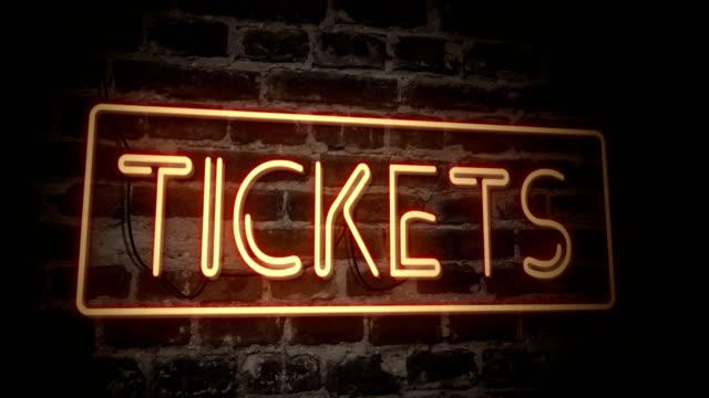 Tickets neon sign