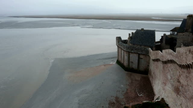 Tidal Wave And Mont Saintmichel Morning Misty Sea View Stock