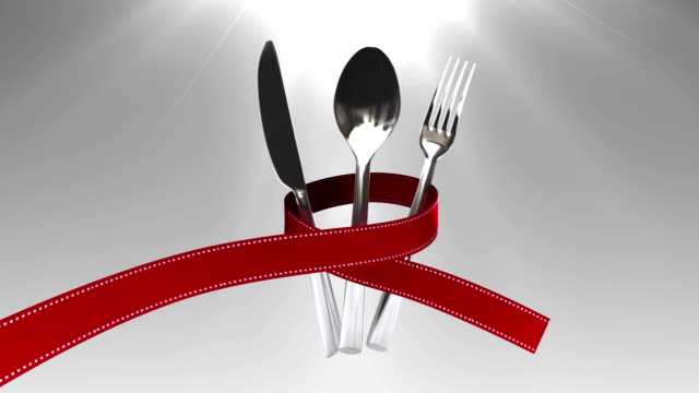 Tie a ribbon on cutlery set animation video