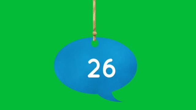 vídeos y material grabado en eventos de stock de burbuja de habla azul atado con números 4k - amarrado