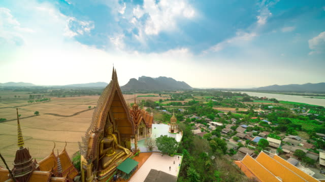 tiger cave temple or wat tham sua in kanchanaburi thailand - wat video stock e b–roll