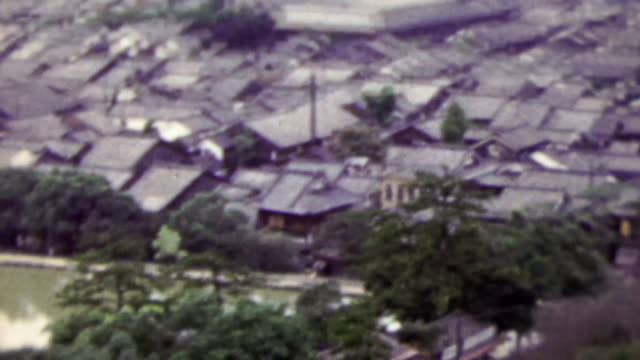 1951: Tightly packed Japanese residential building quaint town. video