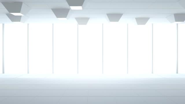 Tiles floor and window in empty showroom, Modern interior design of new office room, White background loop