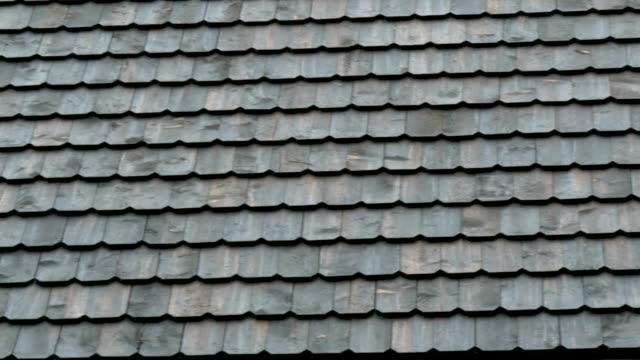 Tiles of the newly constructed shingle roof video