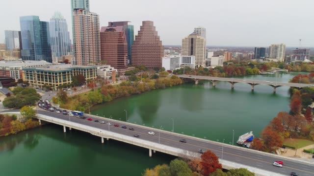 Tilt Down Aerial View of S 1st Street Bridge in Austin Texas video