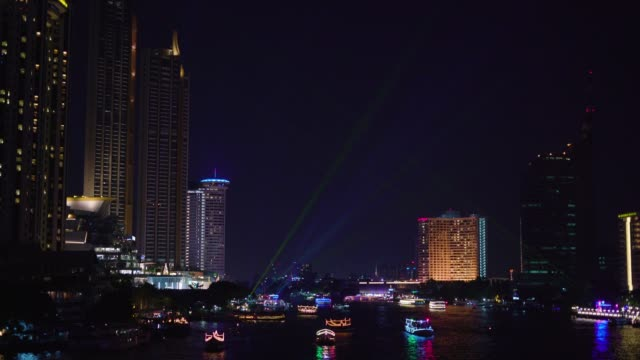 tilt down: chao phraya river in night time, bangkok, thailand. - tilt down stock videos & royalty-free footage