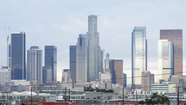 Tilt down to Downtown Los Angeles skyline HD video