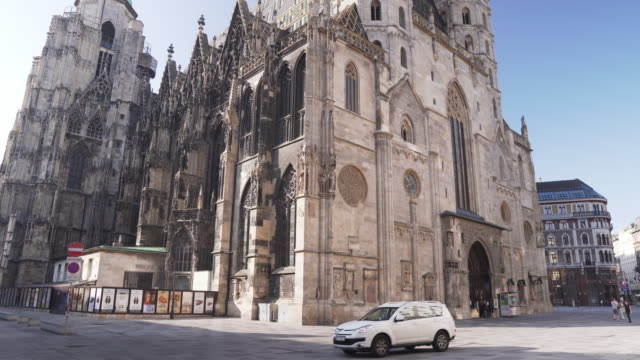 Tilt low angle view: Vienna, Austria, Europe: St. Stephen's Cathedral or Stephansdom, Stephansplatz in weekend