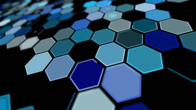 stockvideo's en b-roll-footage met het perspectief blauwe zeshoekachtergrondpatroon van de kanteling - foreground background perspective graphic
