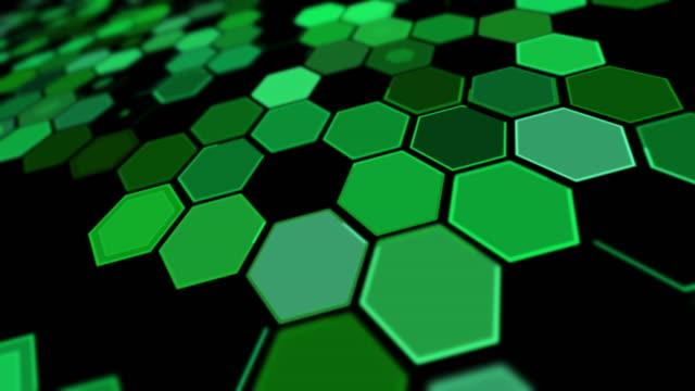 チルトパースペクティブ グリーン六角形の背景パターン - 斜めから見た図点の映像素材/bロール