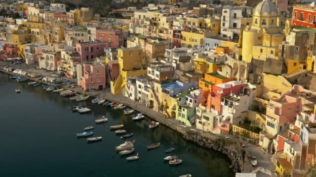 tilt shot of island of procida. naples, italy. uhd, 4k - procida video stock e b–roll