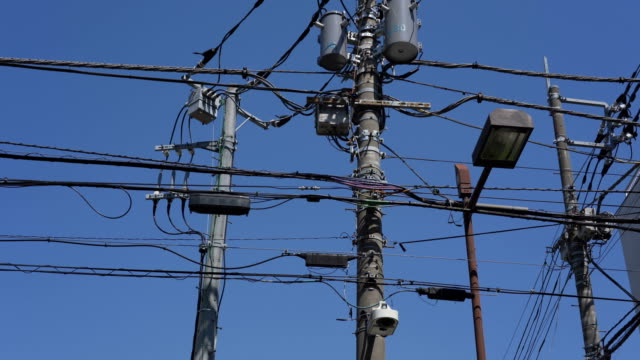4K Tilt up Eectricity pylon in Japan.